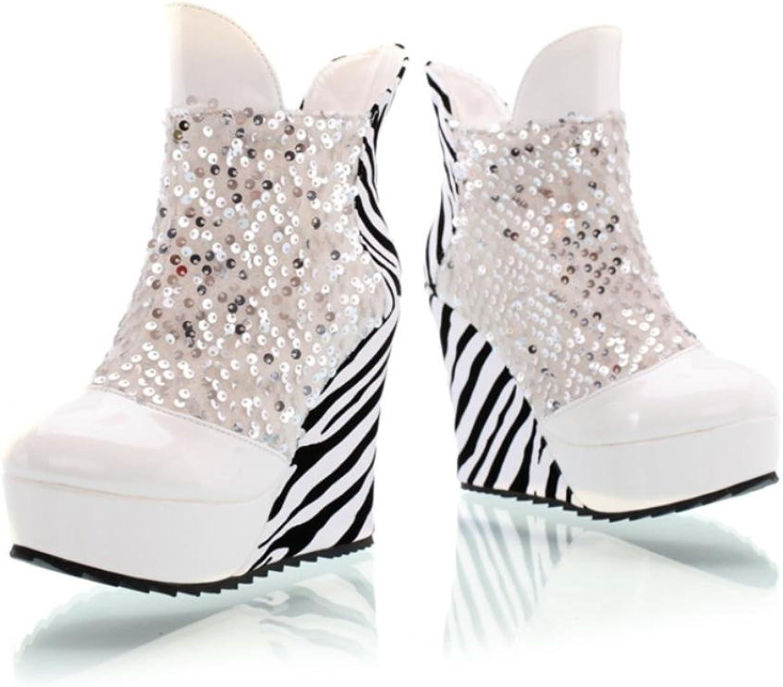 Best 4U Damenschuhe premium PU Pailletten Streifen Stiefeletten Runde kappe 11 CM High Heels Keile Casual Style