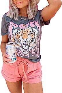 Tiger Printed Short Sleeve Tshirts,Womens Summer Crewneck...