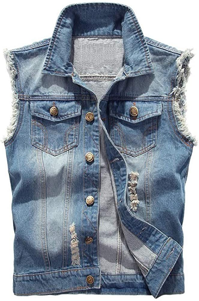 Jade Hare Men's Casual Button Up Loose Denim Vest Sleeveless Ripped Jean Waistcoat Jacket Motorcycle