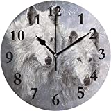 Caonm Snow Wolfs White Silent Ticking Round Reloj de Pared de acrílico Redondo Reloj Decorativo Arte