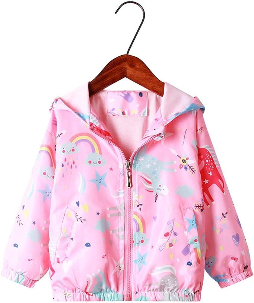 Feidoog Kids Baby Toddler Girls Cartoon Spring Fall Outerwear Windbreaker Zipper Hooded Jackets Coat: Clothing