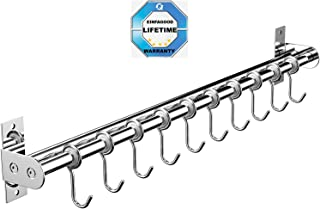 EINFAGOOD Pot Rack, Kitchen Hooks Rack 10 Hooks with Knife Holder and Pot Lid Rack,Stainless Steel Double Pipe, 23.62 in Long (Polished Finish)