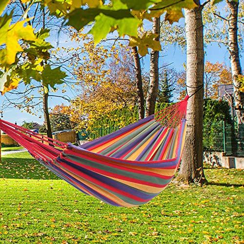 Tenozek Portable Polyester & Cotton Hammock, Soft Comfortable Hammock for Patio, Porch, Garden and Backyard (Four Red)