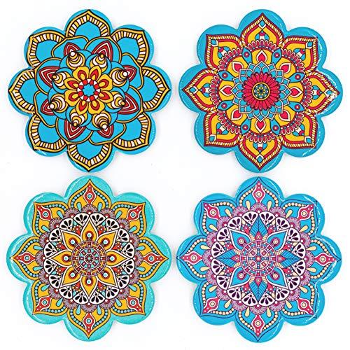 BOHORIA® Premium Design Keramik Untersetzer (4er Set) – Für Getränke, Tee-Gläser, Blumen-Topf, Teller auf ihrem Tisch aus Holz, Glas, Marmor oder Stein (rund | 10.8cm) (Mandalaform)