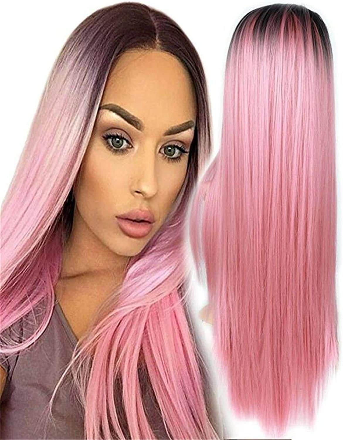 BeautyWig Ombre Pink Straight Long Wigs for Women Middle Part Dark Roots Heat Resistant Synthetic Cosplay Hair 28 Inch