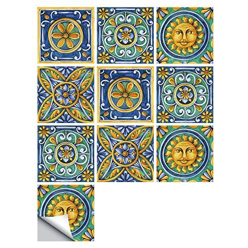 Etiqueta Engomada Del Hogar Retro Marroquí Etiqueta De La Pared Amarilla Etiqueta De La Pared Calcomanías De La Pared Etiqueta Impermeable Del Azulejo Para La Decoración Del Hogar 20x20cm