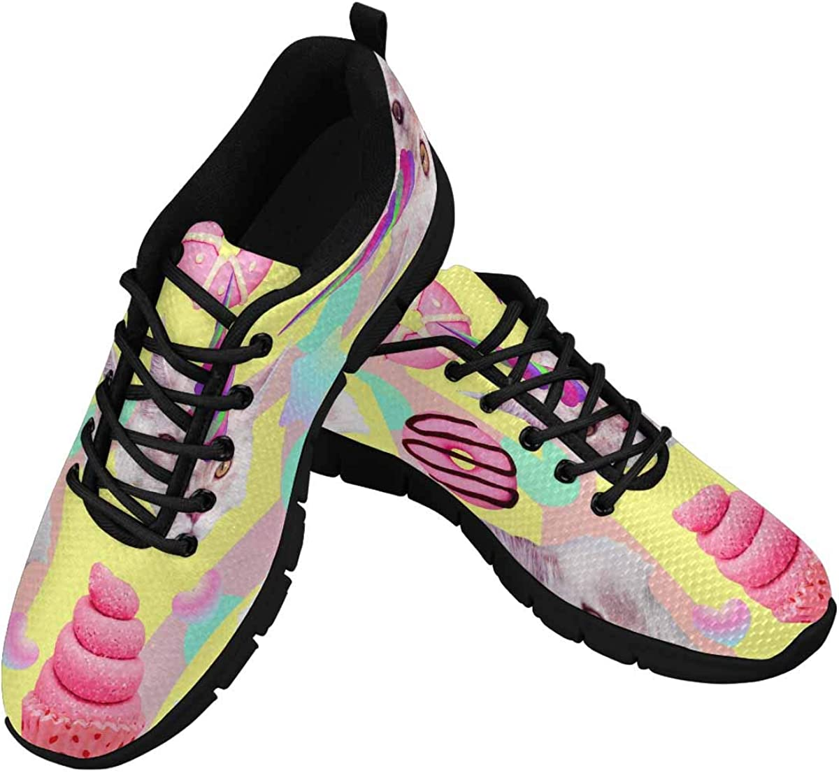 InterestPrint Cute Cat Donut Women's Running Shoes Mesh Breathable Sports Casual Shoes