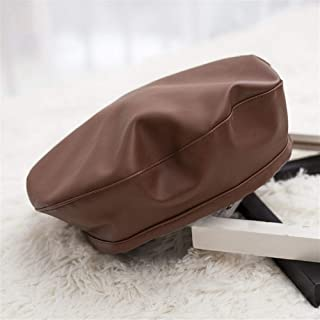 KCBYSS Winter Cap Fashion Women Casual PU Leather Hat for Women Autumn Retro Beanie Caps (Color : Coffee)