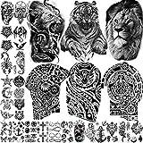 TASROI 28 Sheets Large Tiger Temporary Tattoos For Men Adults Lion Warrior Tiki Maori Temporary Tattoo For Women Kids Boy Tatoo Chest Shoulder Arm Tatto Bull Star Moon Anchor Black Fake Tattoo Sticker