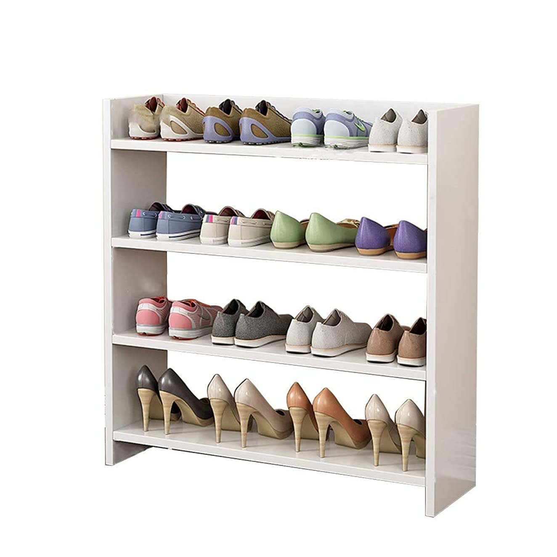 スクリーチ宴会鯨シューズラック クラシック4層ユーティリティシューラック 積み重ね可能な靴の棚 収納棚 - ウッドMDFシューオーガナイザーシェルフ 玄関用 そして、ドア (色 : 白)