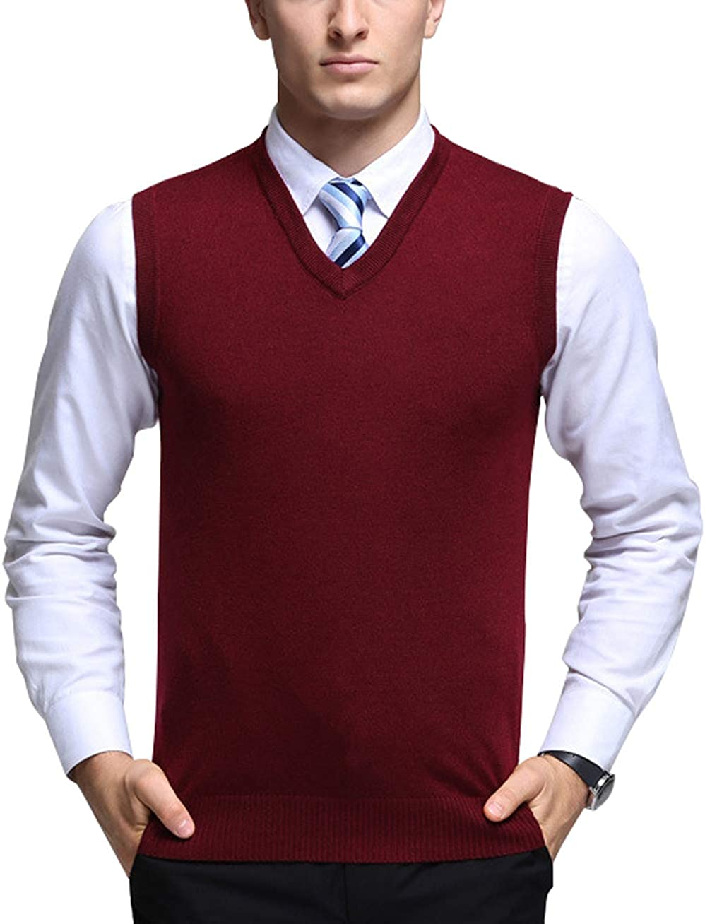 chouyatou Men's Solid Classic Sleeveless V-Neck Knitted Pullover Layer Sweater Vest