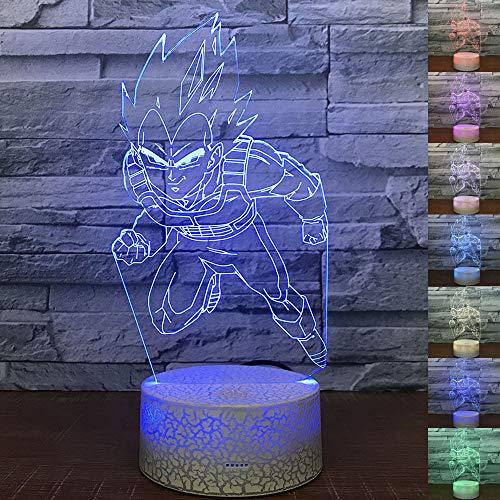 3D Super Saiyan God Goku Action Figures Night Light Night Light Acrylic 3D LED USB 7 Color Change LED Table Lamp Xmas Toy Gift (Crack Base)