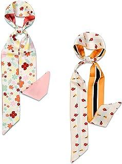 Gudessly Floral Skinny Scarf Set For Women Silk Like Neckerchief Hangbag Handle Hair Wraps