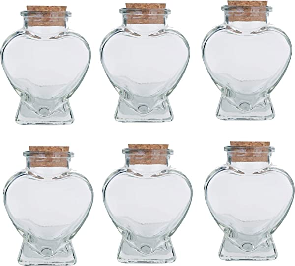 Heart Shaped Glass Bottles With Cork 3oz With A Complimentary Perfume Sample 6 Corked Heart Shape Jar