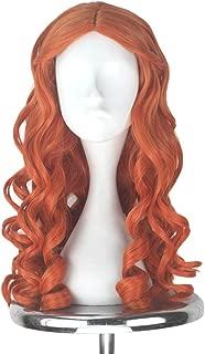 Miss U Hair Women Girl's Long Blonde Curly Halloween Cosplay Costume Wig Adult Kids (Auburn)