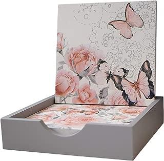 Modern Wood Floral Design Drink Coasters, Set of 4 with Holder, 4