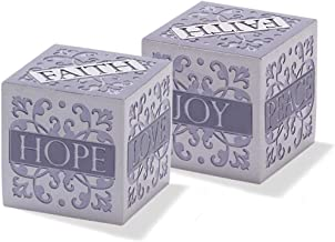 Dicksons Faith Hope Peace Joy Frosted Gray 2 x 2 Resin Stone Table Top Cube Decoration
