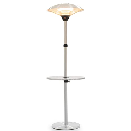 Andrew James Patio Heater | Free Standing Electric Heater in Brushed Stainless Steel | Adjustable Height & Floating Table | 3 Temperature Settings | Double Halogen Bulbs | 2100W & 16m Heat Radius