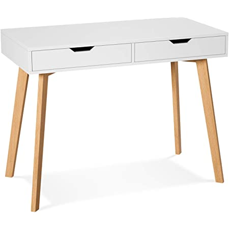 Laptop PC Table Workstation for Home Office Modern Makeup Vanity Table Writing Computer Desk with Two Drawers White