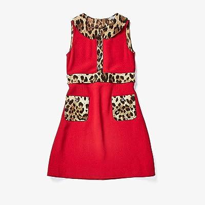 Dolce & Gabbana Kids Cady Dress with Leopard Print Details (Big Kids) (Rosso Brillante) Girl