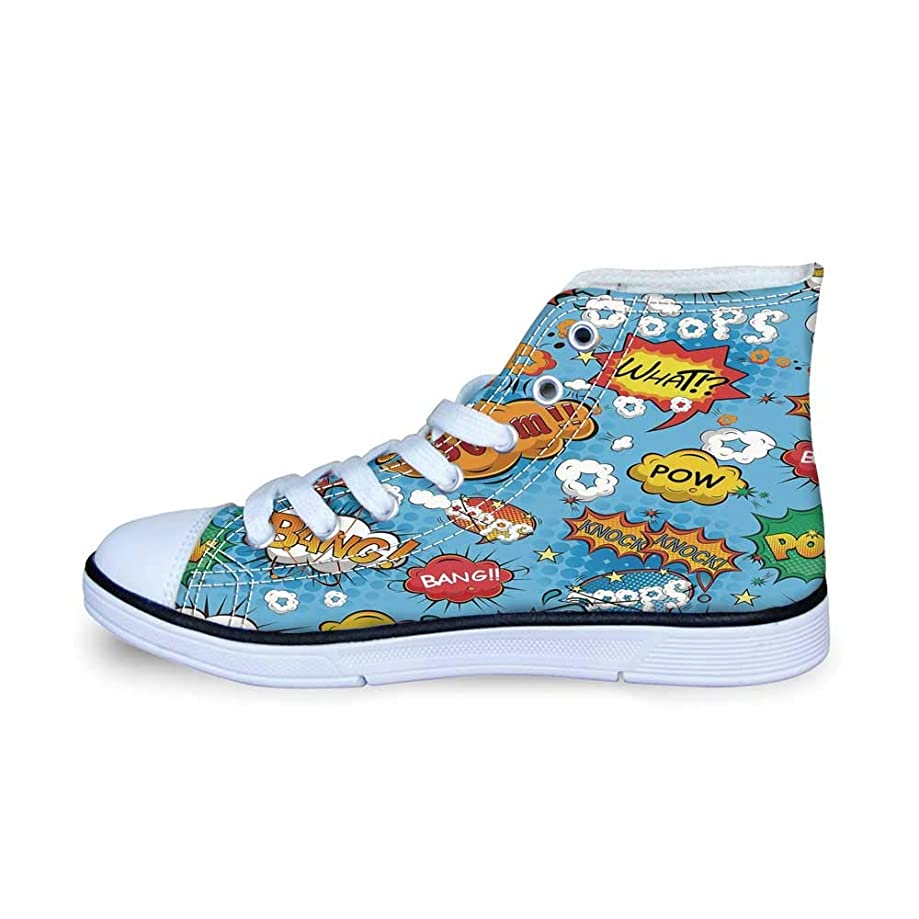 Sunflower Decor Comfortable High Top Canvas Shoes,Grunge Floral Illustration with Sunflower and Chaomiles Pastel Summertime Art for Boys,EU29
