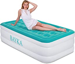 BAYKA Twin Air Mattress with Built in Pump, Durable Blow Up Inflatable Mattresses for Guests, Raised 18'' Double High Airbed for Home Travel, 78x40x18inches