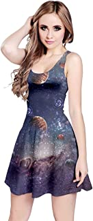 CowCow Womens Space Rocket Planet Sun Moon Science Night Sky Stars Sleeveless Dress, XS-5XL