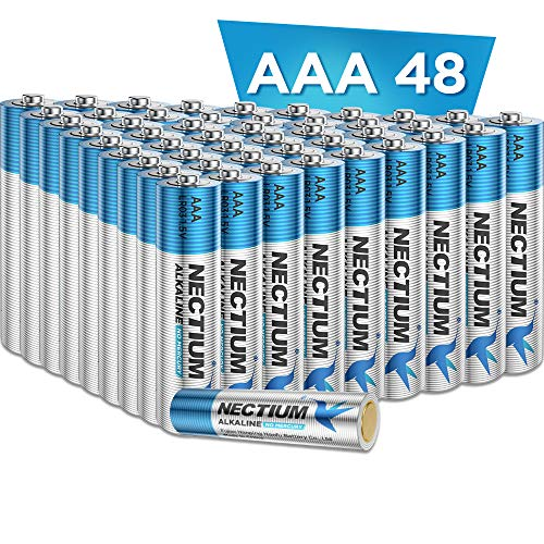 NECTIUM Superior Performance AAA Alkaline PureGoldBottom IoT Batteries 48 Count Ultra Power Long Lasting for IoT Devices and Smart Lock