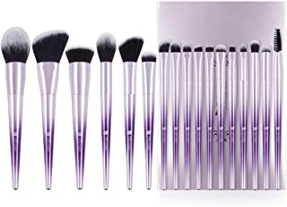 DUcare Makeup Brush Set Professional Synthetic Essential Face Eye Shadow Eyeliner Foundation Blush Lip Powder Liquid Cream Blending Brow Brushes Make Up Brushes Set (Ombré Purple&Silver, 17Pcs)