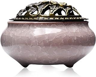 GLJ.CY Ceramic Stick Incense Burner and Cone Incense Holder (Crack White)