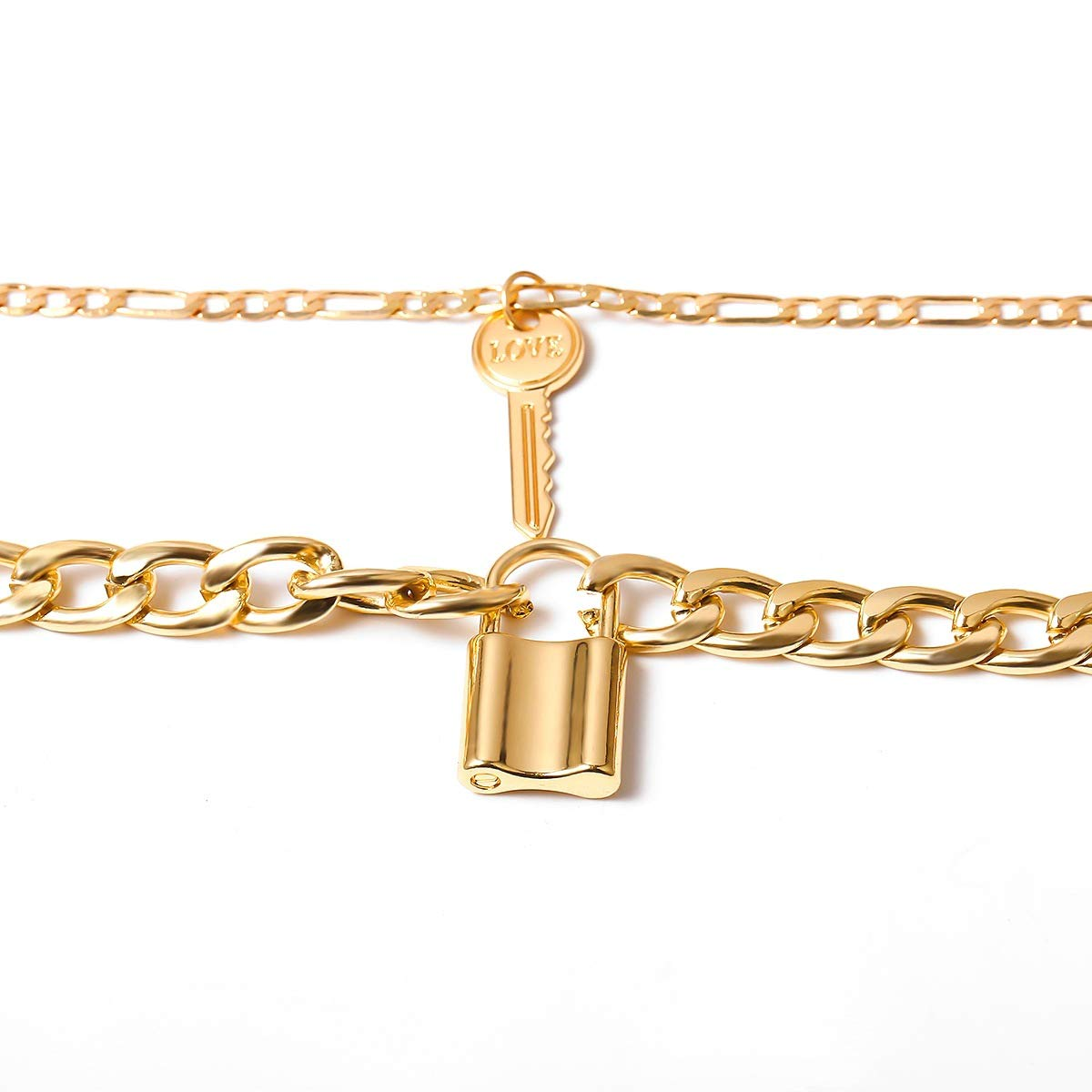 fxmimior Lock Chain Necklace for Women Key Pendant Collar Choker Punk Jewelry for Party (Gold)