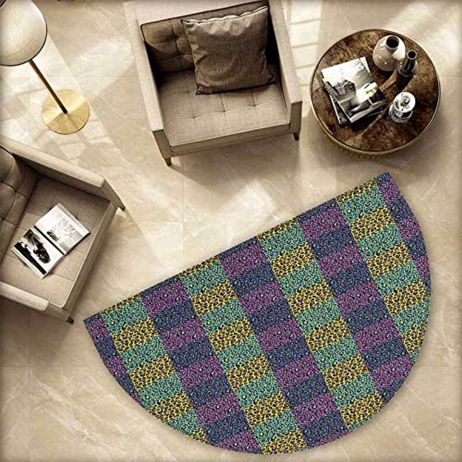 Leopard Print Semicircle Doormat colorful Checkered Pattern with Eighties Style Pop and Hipster Animal Spots Halfmoon doormats H 78.7  xD 118.1  Multicolor