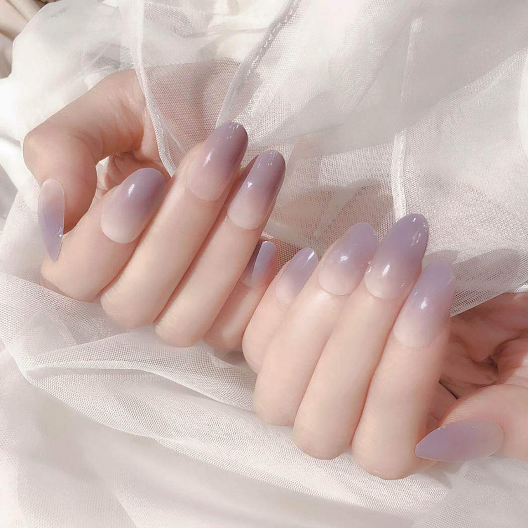 Florry Ombre Fake Nails Purple Long A Press Glossy on Oval Very popular Now sale