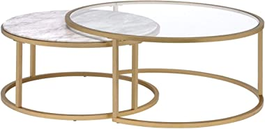 Knocbel Modern Nesting Coffee Table Set of 2 for Living Room, Faux Marble & Clear Glass Top, Metal Frame, Gold Finish (Faux Marble and Gold)