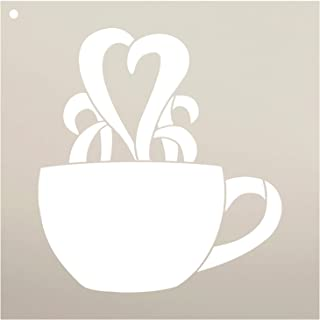 coffee cup with heart steam