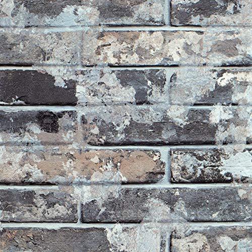 Livelynine 40CMx5M 3D Ziegelstein Tapete Selbstklebende Tapete Steinoptik Grau Tapeten Steinmuster Klebefolie Steinoptik Selbstklebend Fototapete für Wohnzimmer Schlafzimmer Küchenrückwand Backstein
