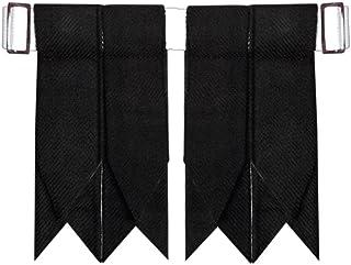 Solid Plain Black Tartan Kilt Hose Sock Flashes with Heavy Buckle Adjusters