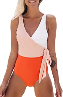 Women's One Piece Swimsuit Wrap Color Block Tie Side...
