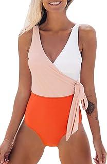 Women's Orange White Bowknot Bathing Suit Padded One Piece Swimsuit