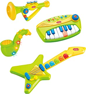 Liberty Imports 4-Piece Band Musical Toy Instruments Playset for Kids - Keyboard, Guitar, Saxophone and Trumpet - with Vol...