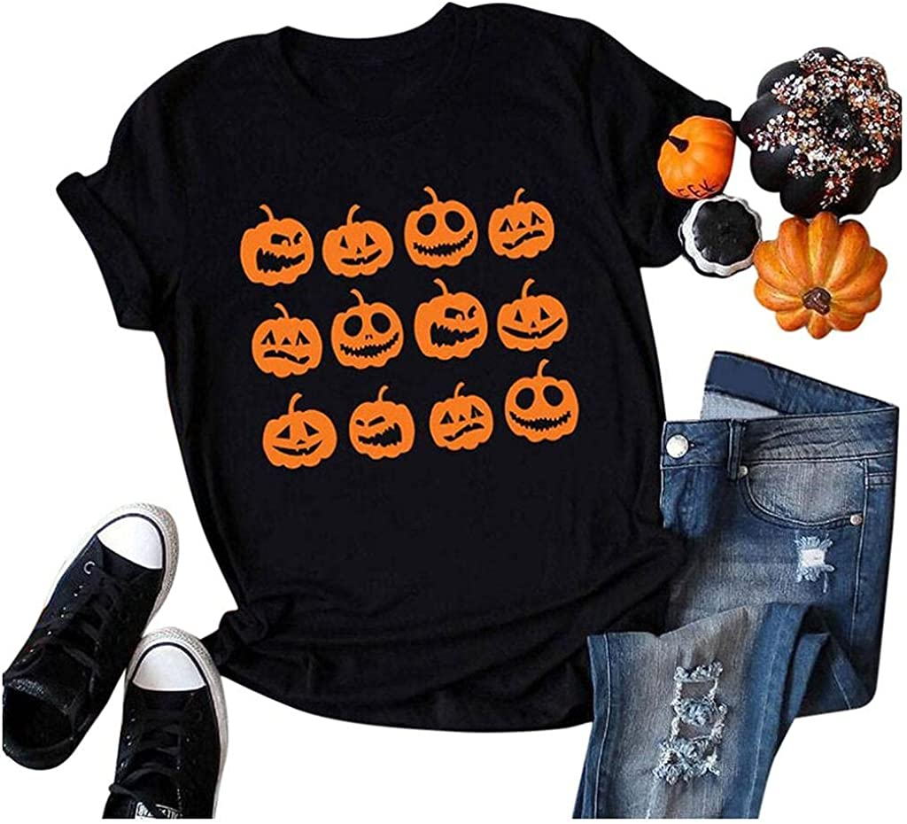 AODONG Halloween t Shirts for Women Plus Size Womens Tops and Blouses, Women T-Shirt Short Sleeve Loose Tunic Tops Summer Loose Heart Print Graphic Blouse Tees