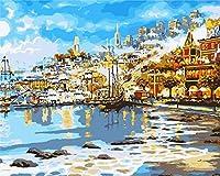 番号によるDiyペイント油絵のデジタルキット海辺の町の油絵ブラシ付き油絵