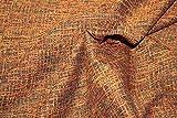 Russo Tessuti Tessuto Tappezzeria Tweed Coccio Arancione Fondo Nero 0.50 x 2,80 mt