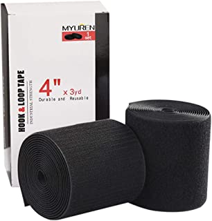 Sew on Hook and Loop Style 4 Inch Non-Adhesive Back Nylon Strips Fabric Fastener Non-Adhesive Interlocking Tape Black,3 Yard