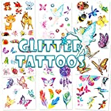 Qpout Glitzer Temporäre Tattoos für Kinder, Cartoon Reh Fee Schmetterling Biene Temporäre...