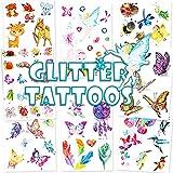 Qpout Glitzer Temporäre Tattoos für Kinder, Cartoon Reh Fee Schmetterling Biene Temporäre...