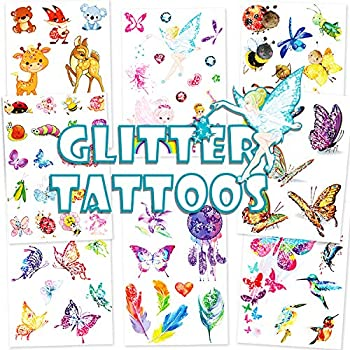 Konsait 84pcs Glitter Tattoos for Kids Glitter Flash Scented Tattoos Animal Jungle Woodland Zoo Temporary Tattoos Art Stickers for Birthday Party Favors Supplies Kids Party Bag Goodie Filler Rewards