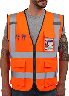 Dib Safety Vest Reflective ANSI Class 2, High Visibility Vest with Pockets and Zipper, Construction Work Vest Hi Vis Orange M