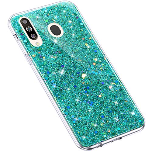 Uposao Kompatibel mit Samsung Galaxy M30 / A40S Hülle Silikon Glänzend Bling Glitzer Strass Schutzhülle Ultradünn Durchsichtig TPU Silikon Hülle Crystal Clear Case Transparent TPU Rückschale,Grün