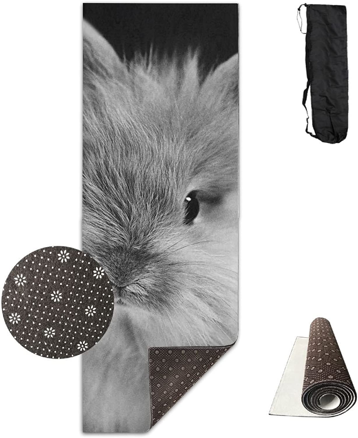 Gym Mat Grey Rabbit Fitness High Density AntiTear Exercise Yoga Mat With Carrying Bag For Exercise,Pilates
